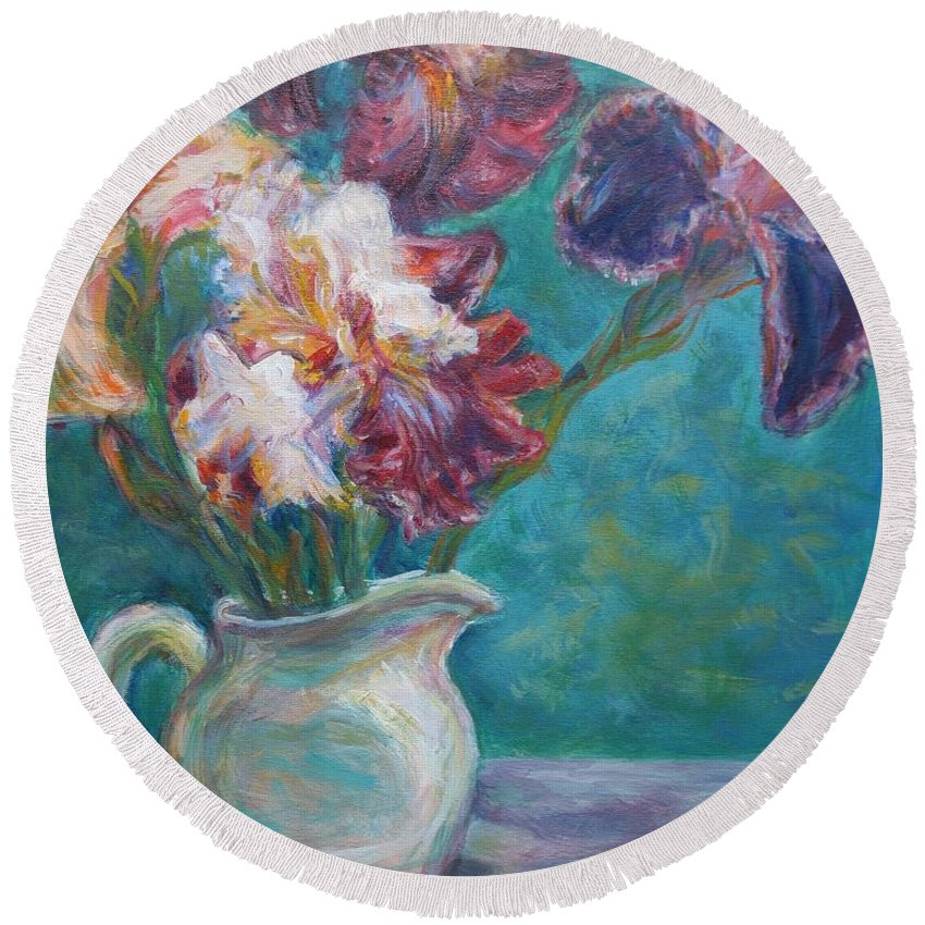 Impressionist Round Beach Towel featuring the painting Iris Medley - Original Impressionist Painting by Quin Sweetman
