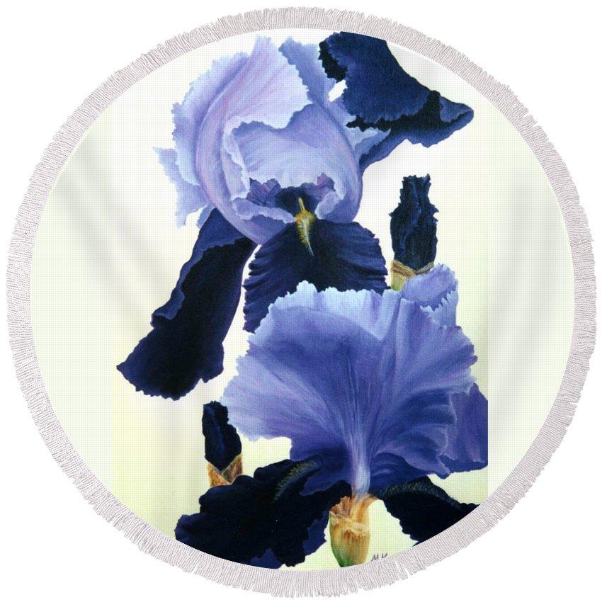 Flower Round Beach Towel featuring the painting Iris by Melissa Joyfully