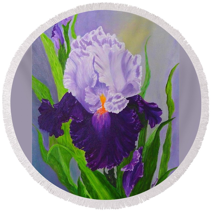 Floral Painting Round Beach Towel featuring the painting Iris by Peggy Holcroft