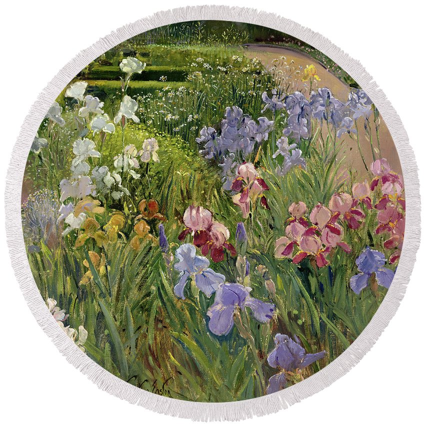 Garden Round Beach Towel featuring the painting Irises At Bedfield by Timothy Easton