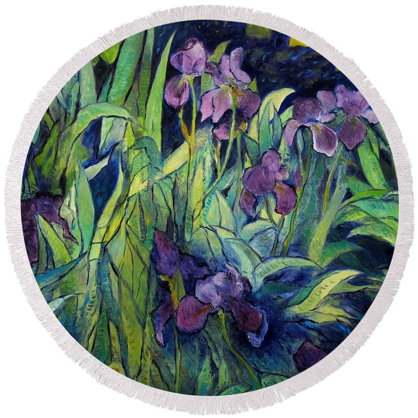Irises Provence. Impressionism. Enver Larney. F Round Beach Towel featuring the painting Irises At High Altitude Auribeau France 2004  by Enver Larney