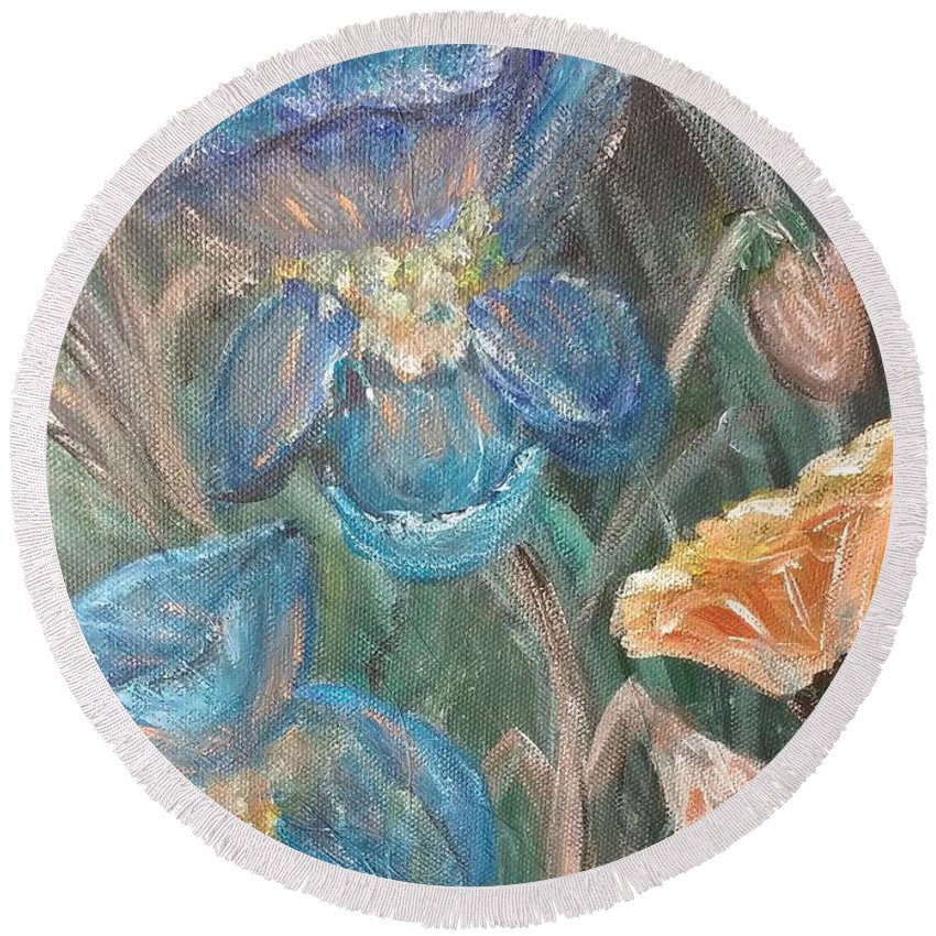 Floral Round Beach Towel featuring the painting Irises by Corina Lupascu