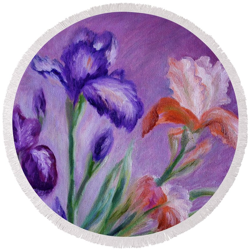 Flowers Round Beach Towel featuring the painting Irises by Natalie Maro