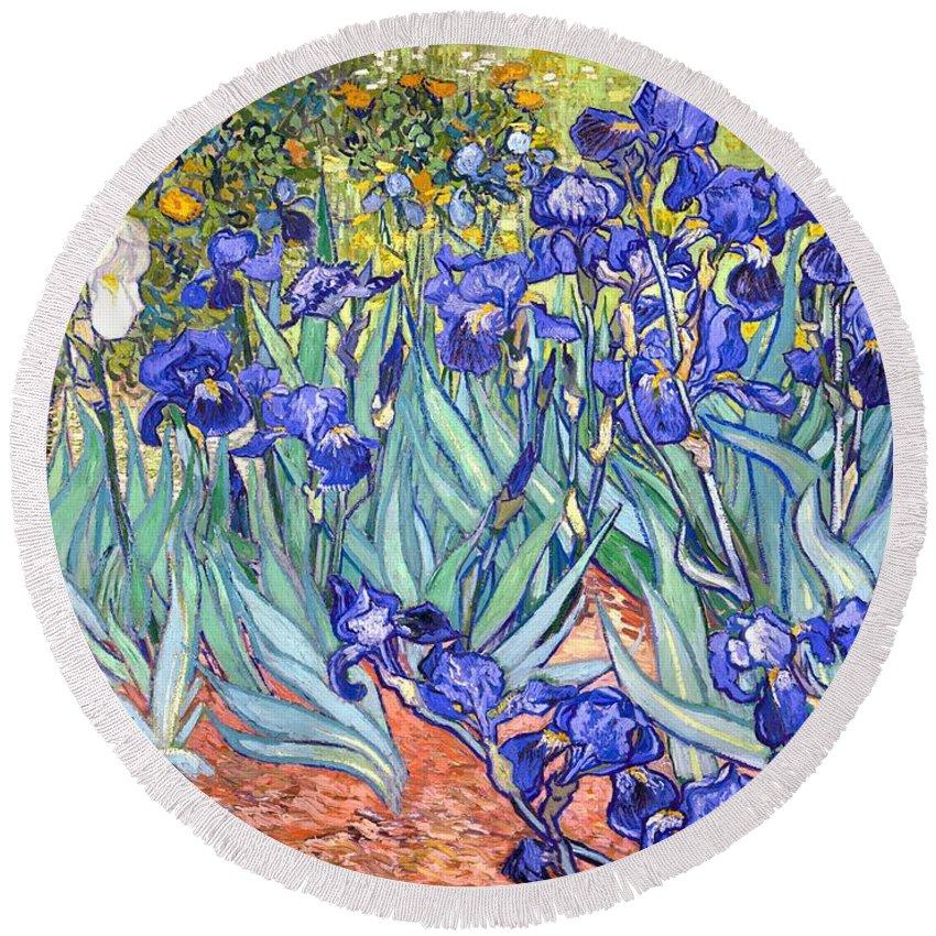 Van Gogh Round Beach Towel featuring the painting Irises by Van Gogh