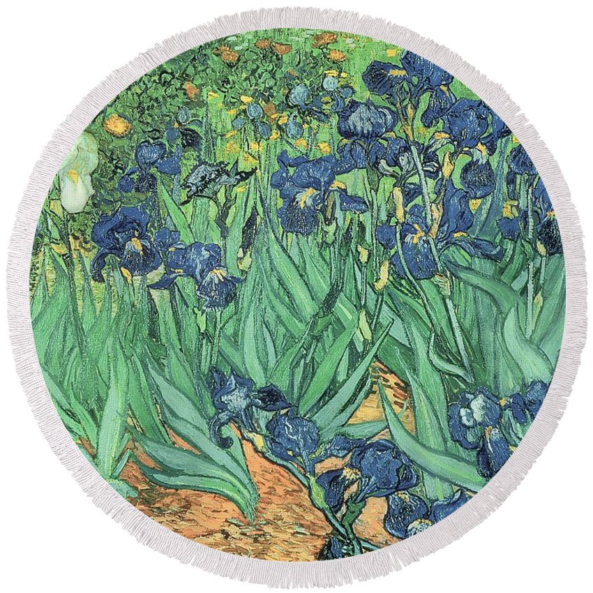 Irises Round Beach Towel featuring the painting Irises by Vincent Van Gogh