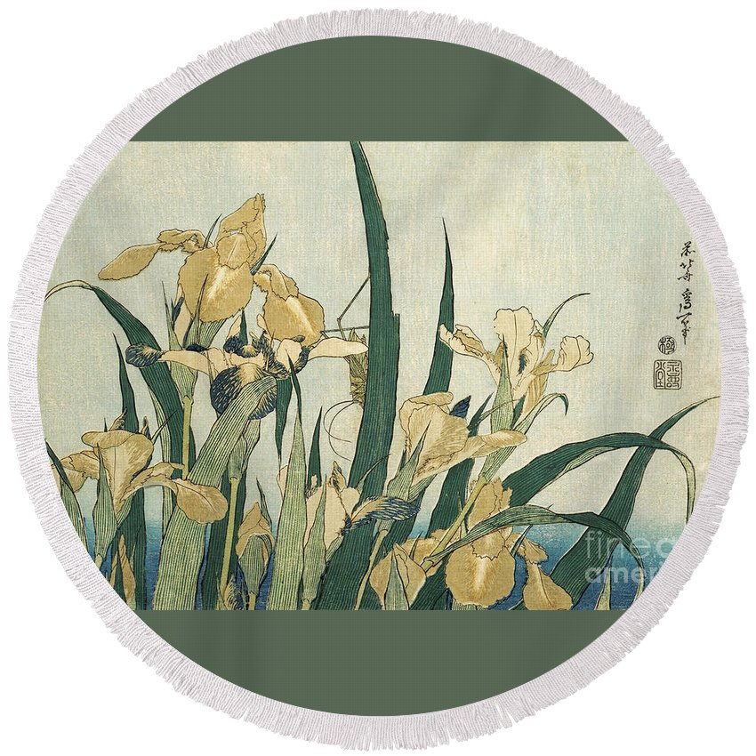 Japan Round Beach Towel featuring the painting Irises With A Grasshopper by Hokusai