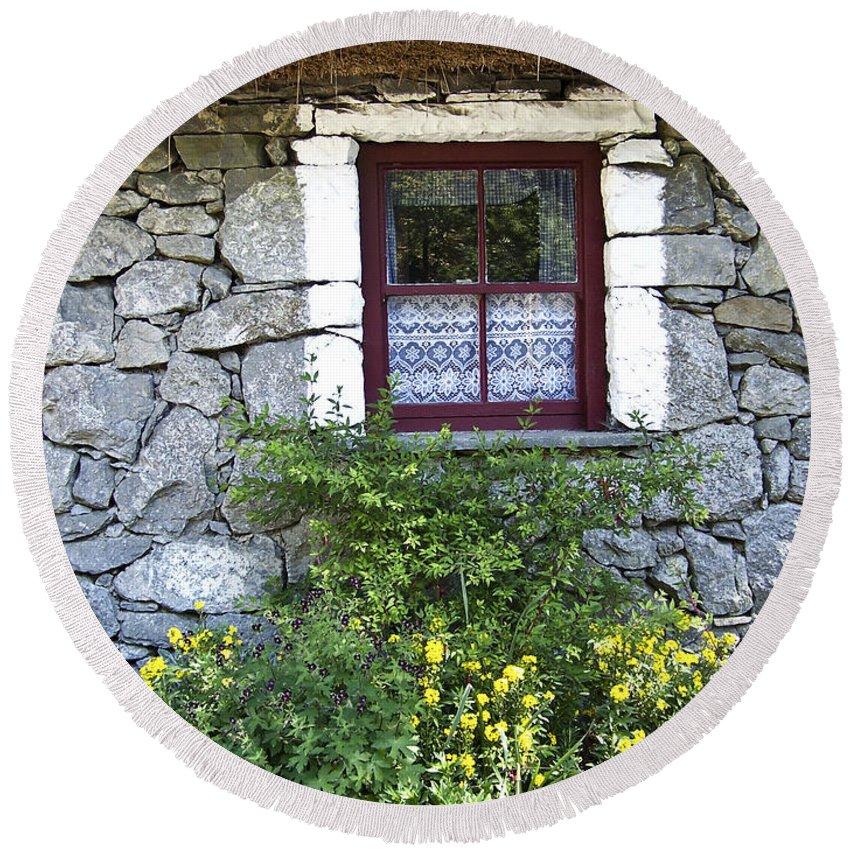 Irish Round Beach Towel featuring the photograph Irish Cottage Window County Clare Ireland by Teresa Mucha