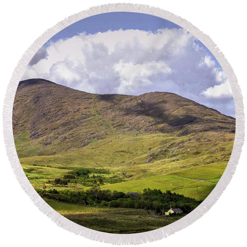 Ireland Round Beach Towel featuring the photograph Irish Countryside by Bob Cuthbert