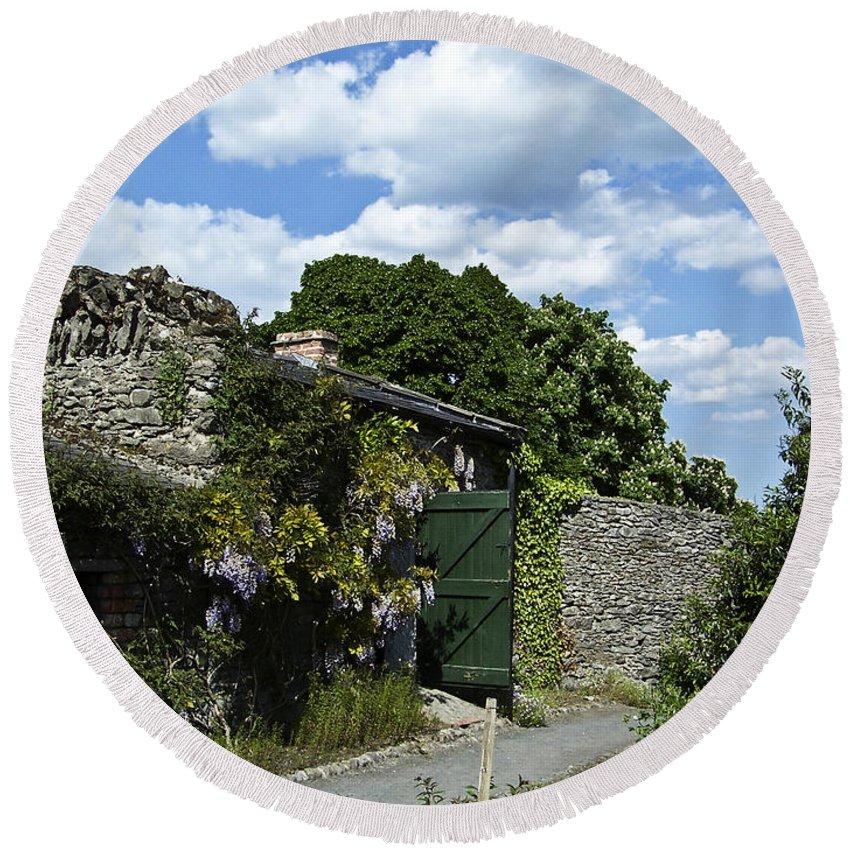 Irish Round Beach Towel featuring the photograph Irish Garden County Clare by Teresa Mucha