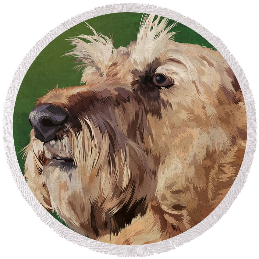 Portrait Round Beach Towel featuring the painting Irish Terrier by Carl Conway
