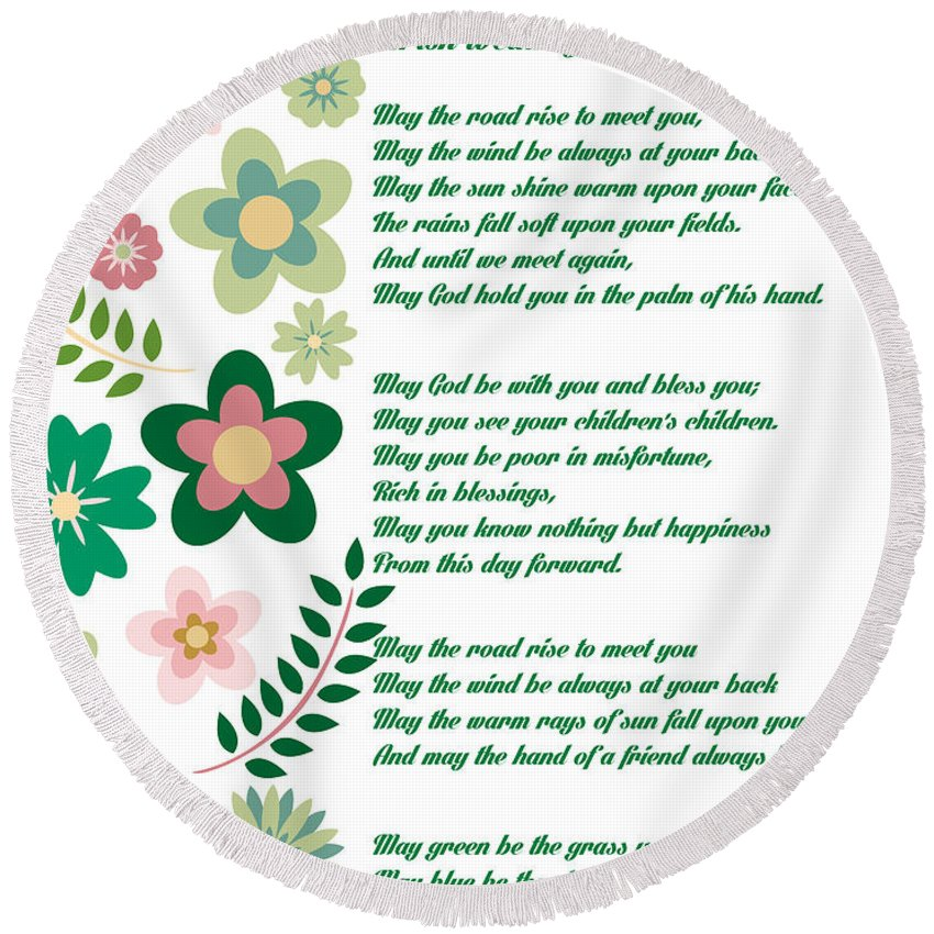 Irish Wedding Blessing Prayer Round Beach Towel For Sale By
