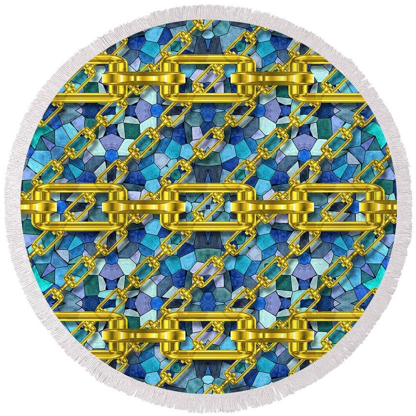 Seamless Round Beach Towel featuring the digital art Iron Chains With Mosaic Seamless Texture by Miroslav Nemecek