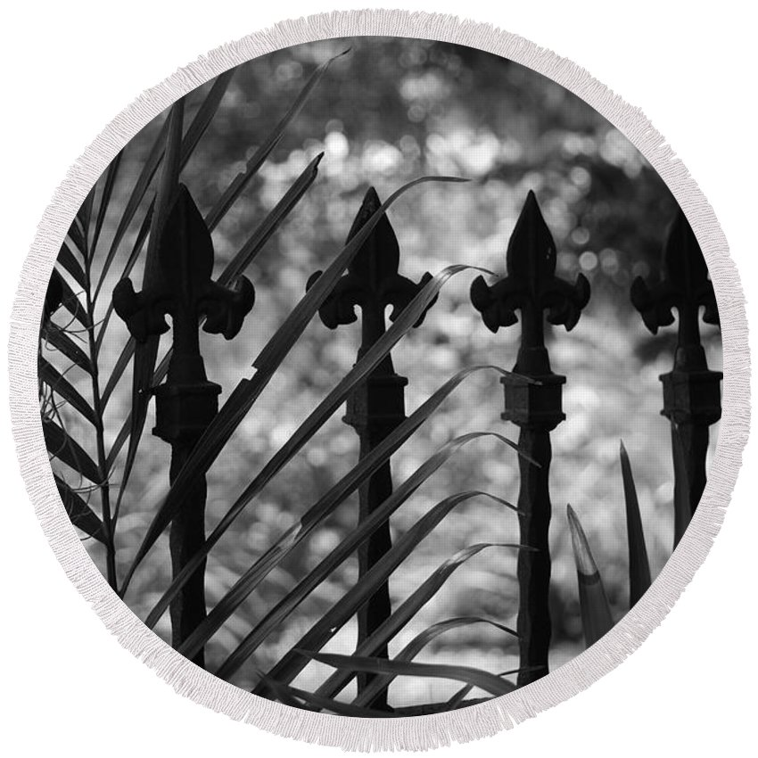 Wrought Iron Round Beach Towel featuring the photograph Iron Fence by Rob Hans