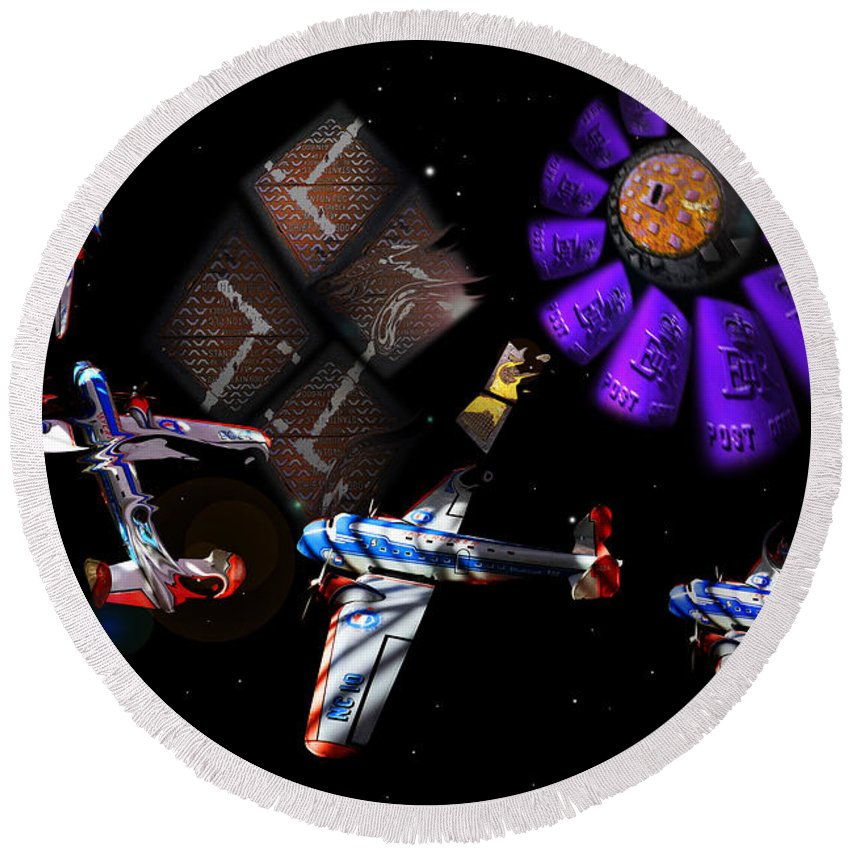 Outer Space Round Beach Towel featuring the digital art Iron In The Sky by Charles Stuart