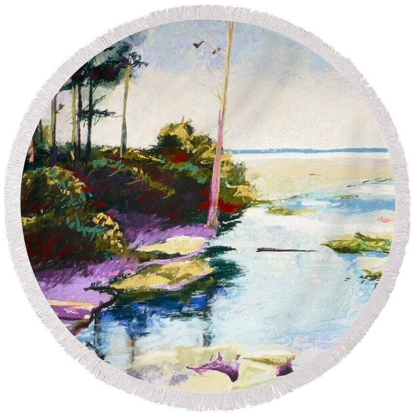 Pastel Round Beach Towel featuring the painting Iron Springs by Mary McInnis