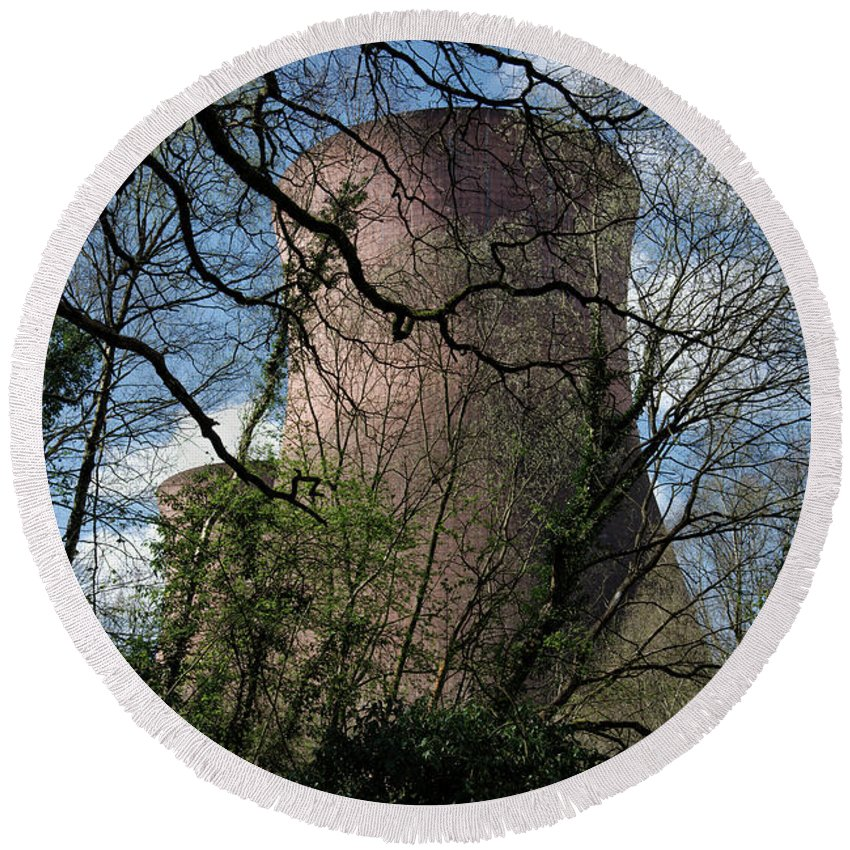 Buildwas Round Beach Towel featuring the photograph Ironbridge Cooling Tower by MSVRVisual Rawshutterbug