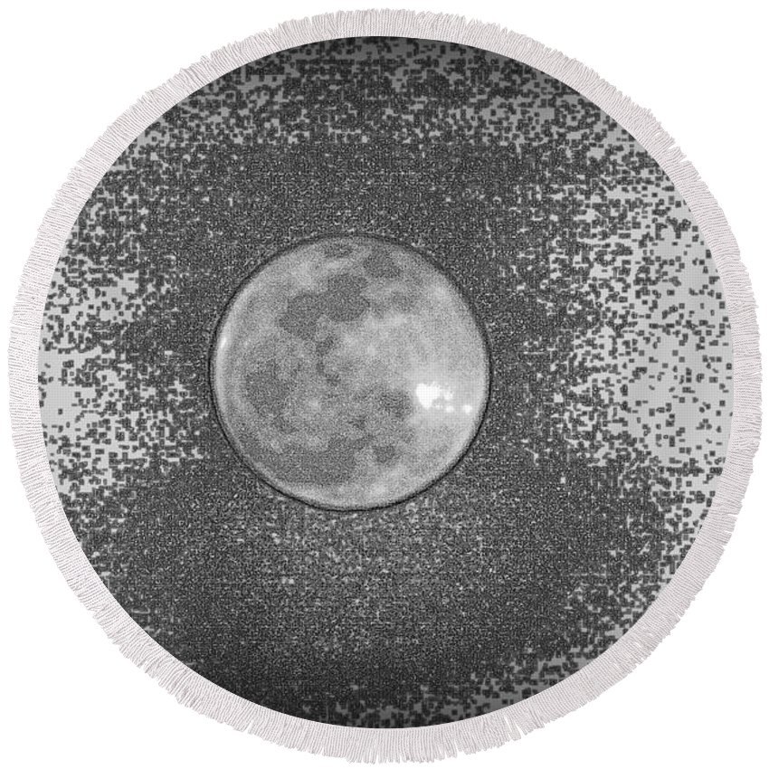 Full Moon Round Beach Towel featuring the photograph Is Anybody Out There by Lisa Wooten