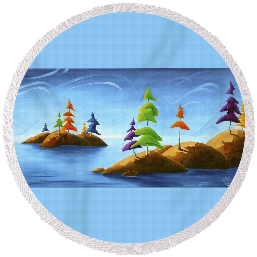 Landscape Round Beach Towel featuring the painting Island Carnival by Richard Hoedl