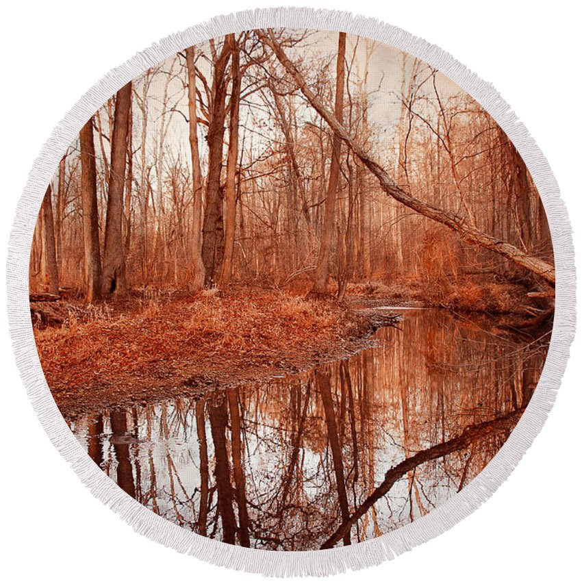 Island Creek Round Beach Towel featuring the photograph Island Creek Story by Iryna Goodall