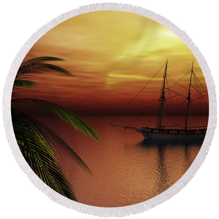 Tropical Round Beach Towel featuring the digital art Island Explorer by Richard Rizzo