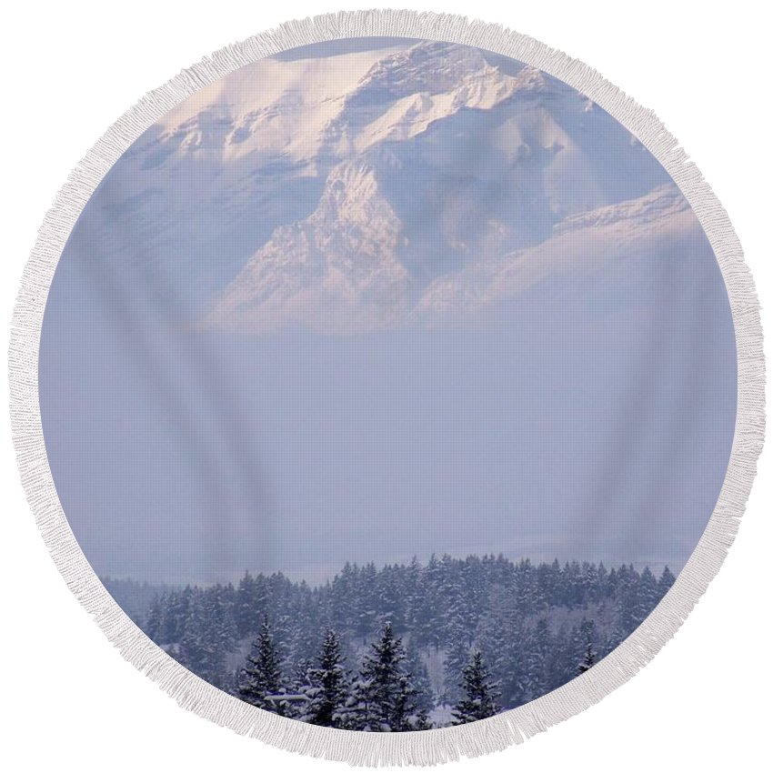 Layers Round Beach Towel featuring the photograph Island In The Sky by Greg Hammond