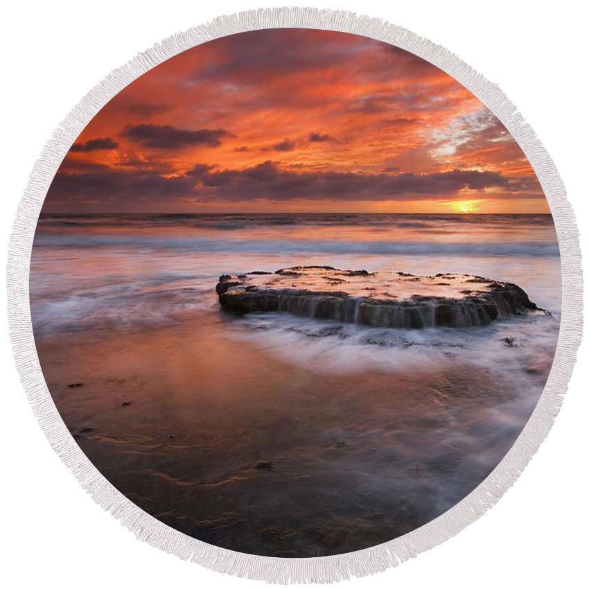 Island Round Beach Towel featuring the photograph Island In The Storm by Mike Dawson