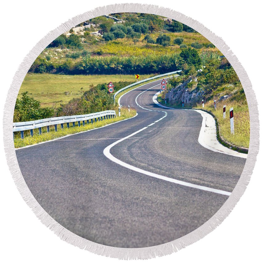 Nature Round Beach Towel featuring the photograph Island Of Pag Curvy Road by Brch Photography