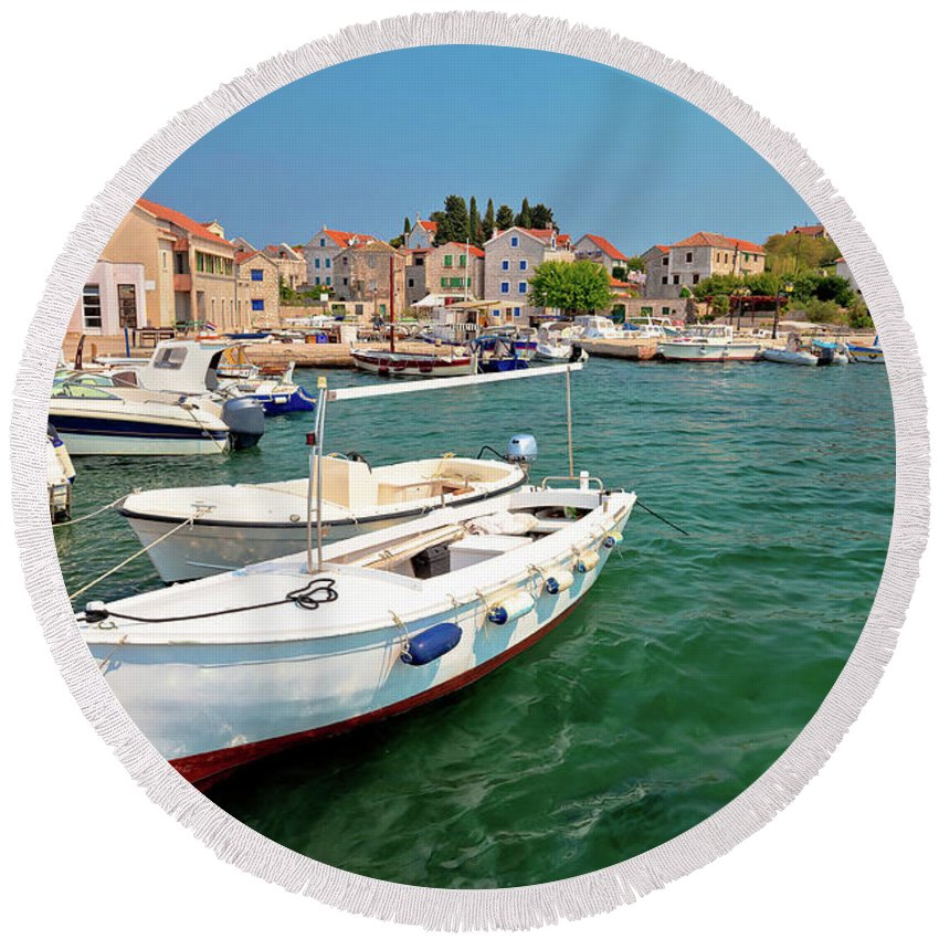 Prvic Round Beach Towel featuring the photograph Island Of Prvic Turquoise Harbor And Waterfront View In Sepurine by Brch Photography