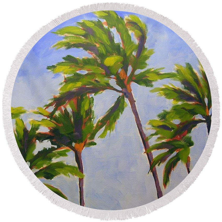 Oil Round Beach Towel featuring the painting Island Palms by Mary McInnis