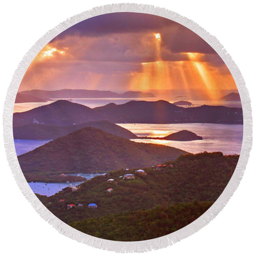 Virgin Islands Round Beach Towel featuring the photograph Island Rays by Scott Mahon