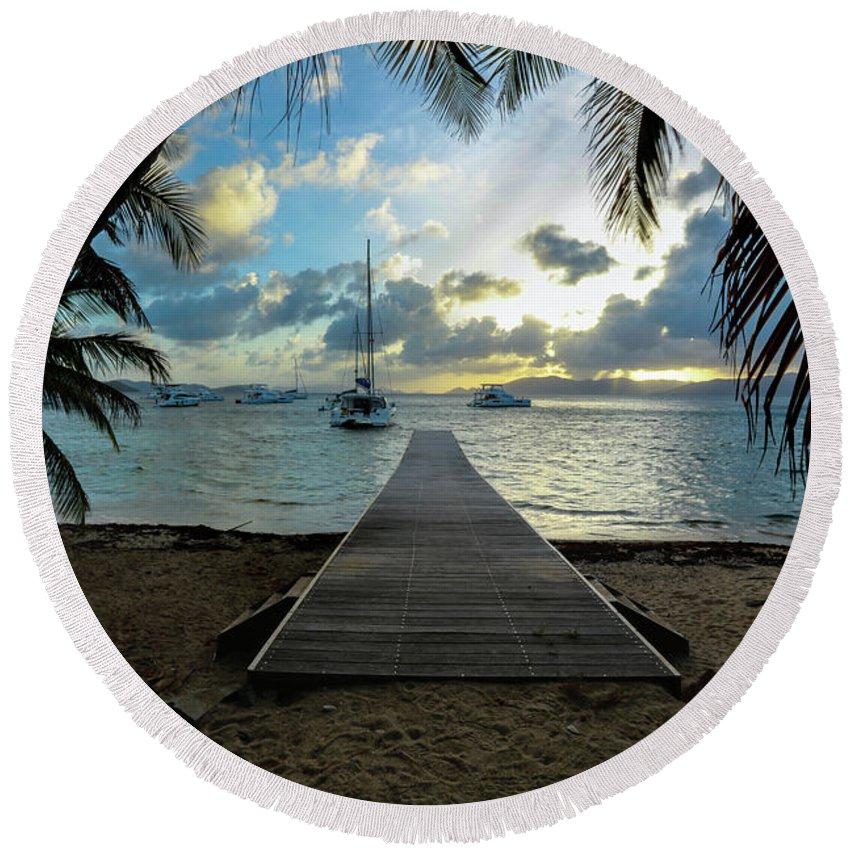 I Love The Bvi Round Beach Towel featuring the photograph Island Sunset by Jon Neidert