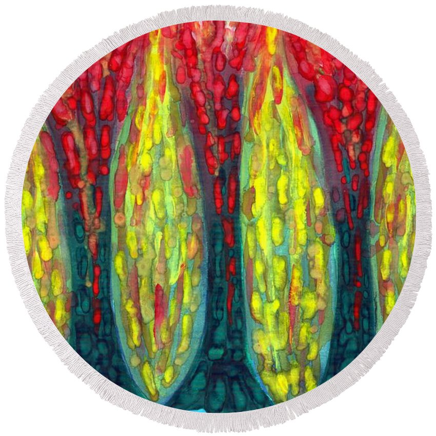 Colour Round Beach Towel featuring the painting Island Three Trees by Wojtek Kowalski
