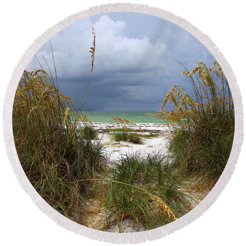 Beach Round Beach Towel featuring the photograph Island Trail Out To The Beach by Barbara Bowen