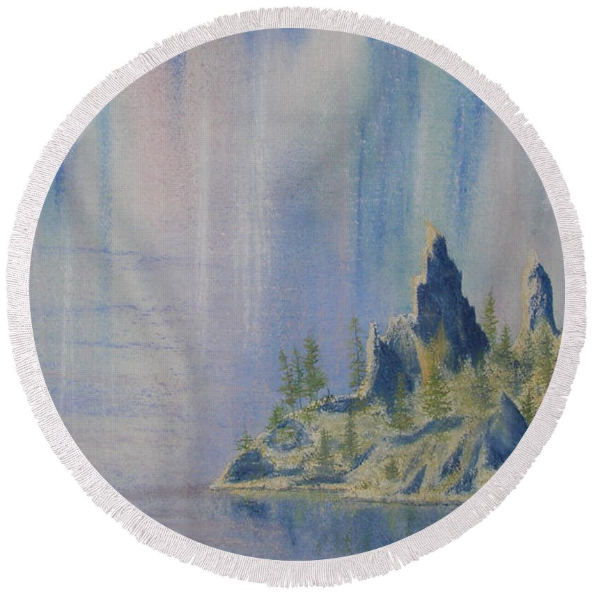 Island Round Beach Towel featuring the painting Isle Of Reflection by Lynn Quinn