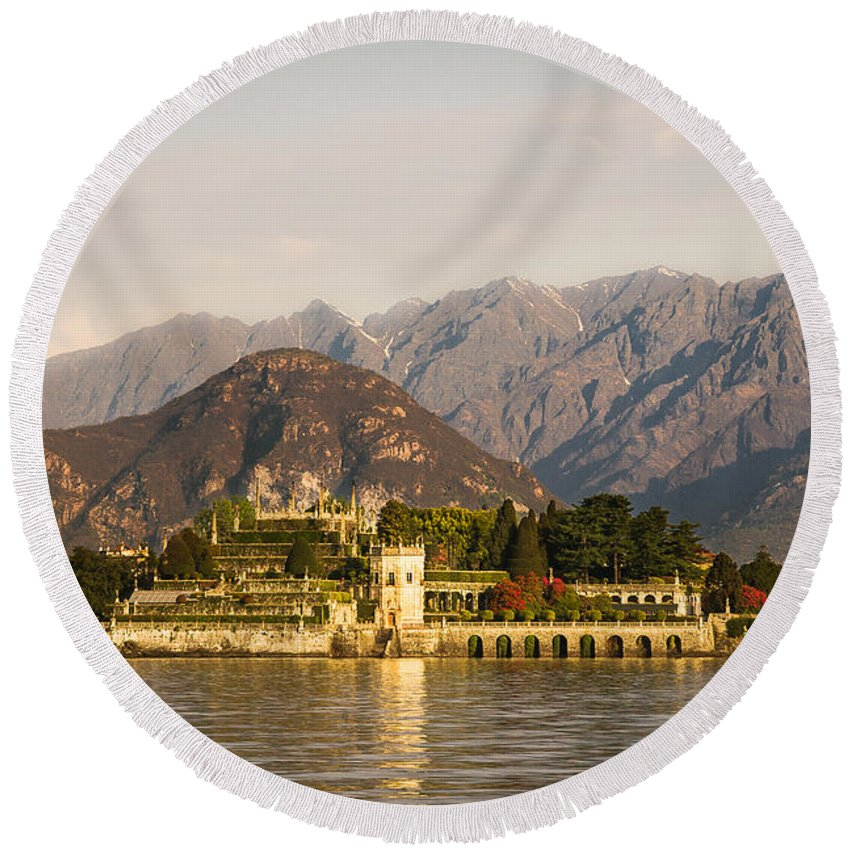 Isola Bella Round Beach Towel featuring the photograph lake Maggiore, Borromean island, Piedmont Italy by Marco Arduino