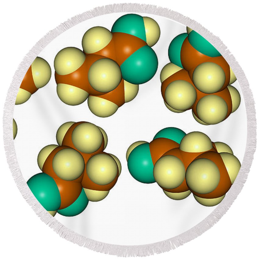 Molecule Round Beach Towel featuring the photograph Isovaleric Acid Molecular Models by Scimat