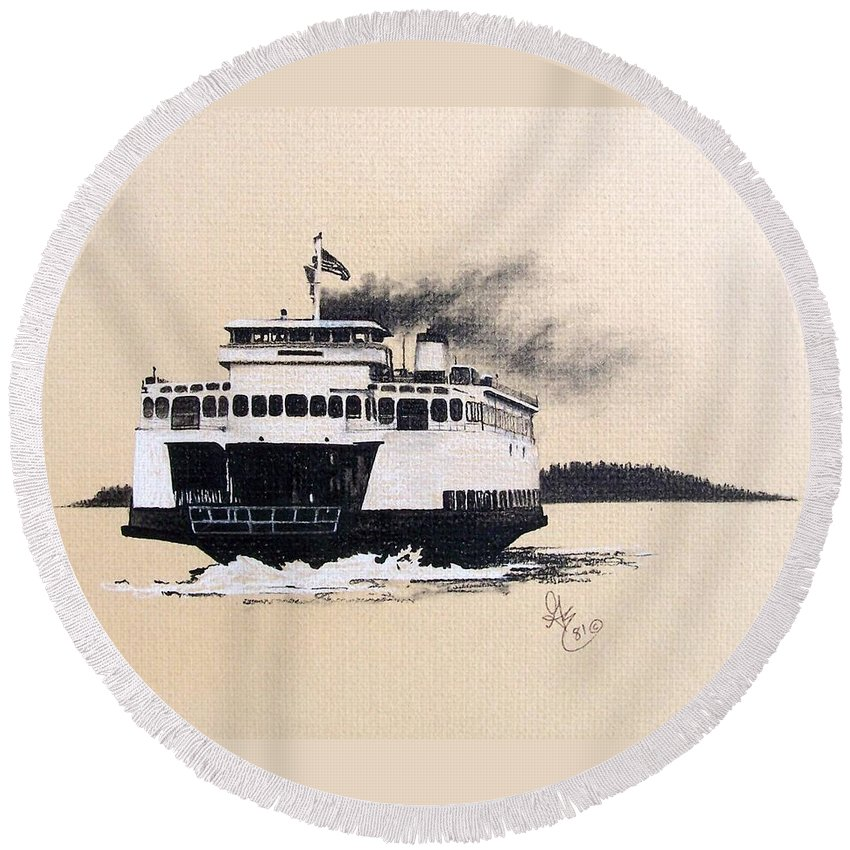 Ferry Round Beach Towel featuring the pastel Issaquah by Gale Cochran-Smith