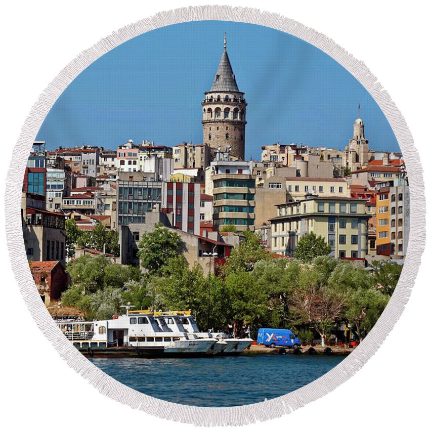 Waterside Scene Round Beach Towel featuring the photograph Istanbul Cityscape by Sally Weigand