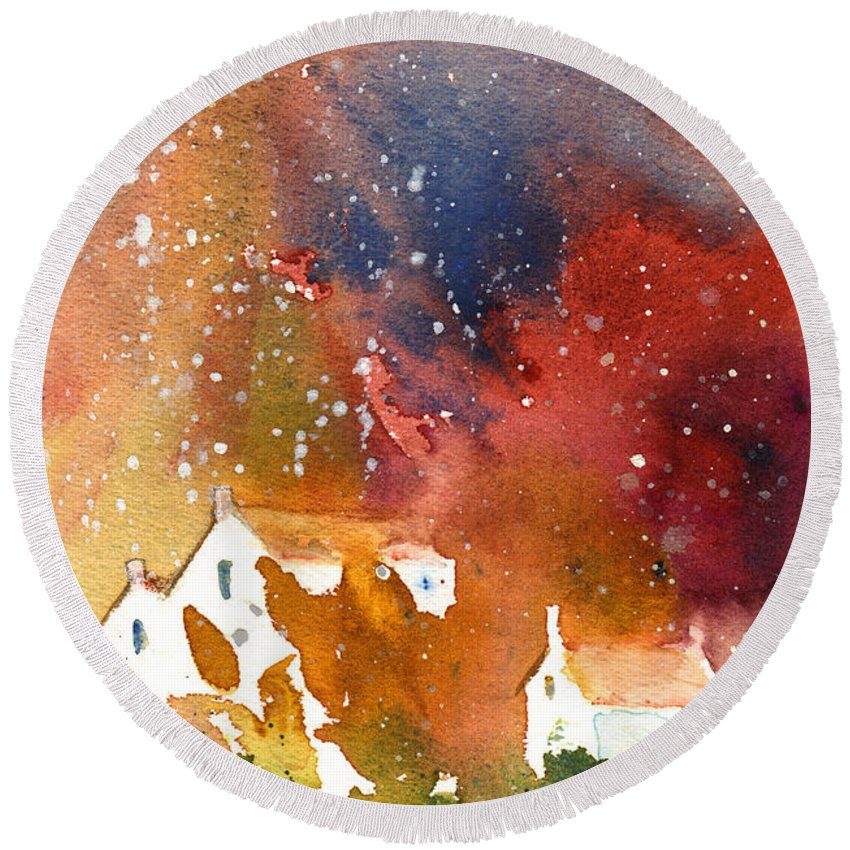 Watercolour Round Beach Towel featuring the painting It Is Always Snowing Somewhere 01 by Miki De Goodaboom