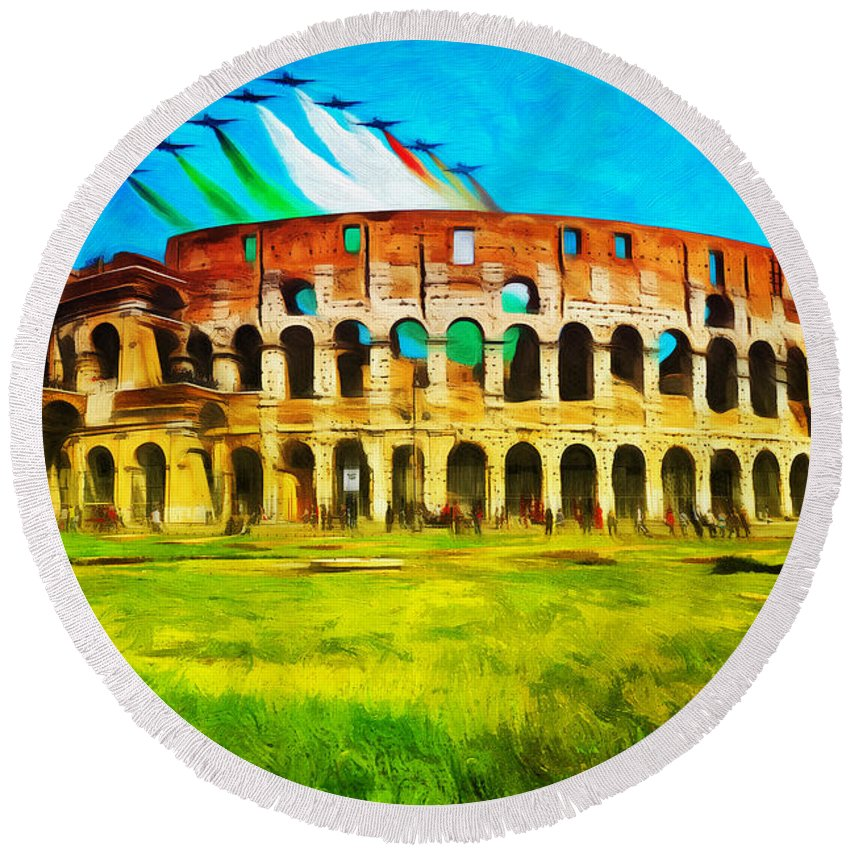 Rome Round Beach Towel featuring the photograph Italian Aerobatics Team Over The Colosseum by Stefano Senise
