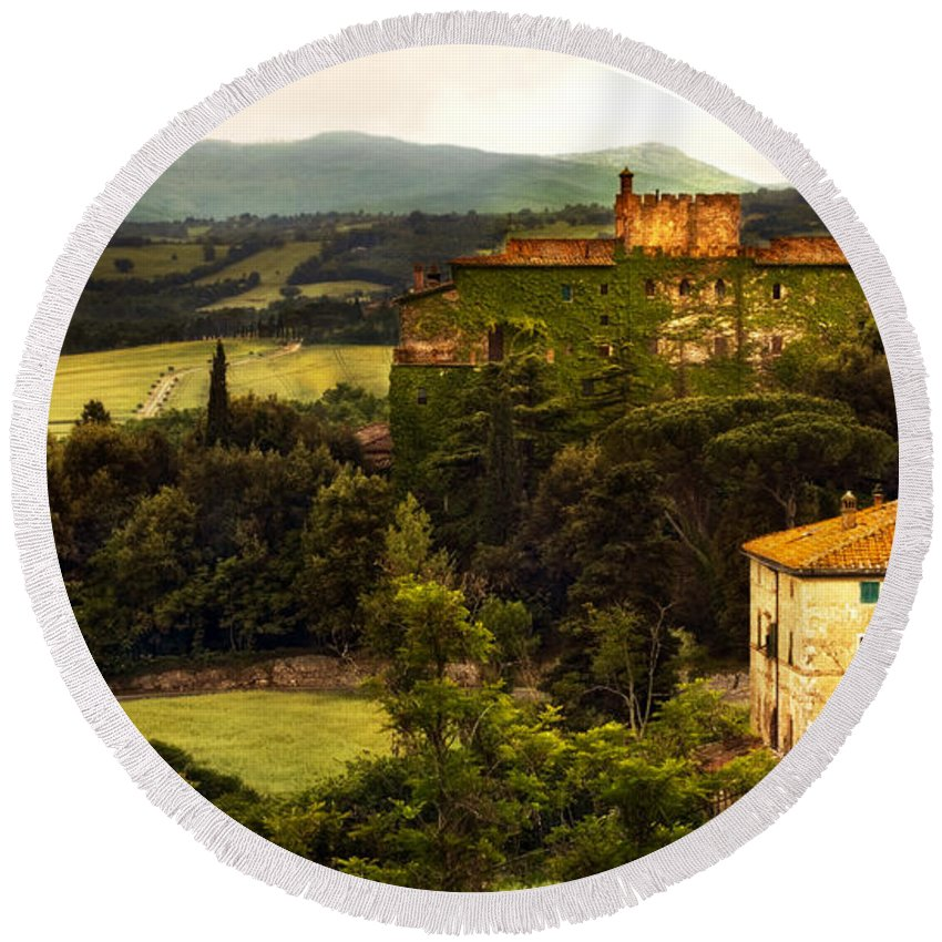 Italy Round Beach Towel featuring the photograph Italian Castle And Landscape by Marilyn Hunt