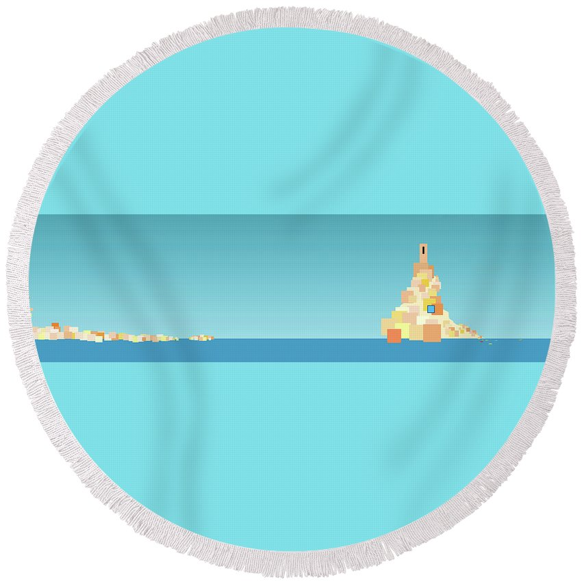 Mediterranean Seascape Round Beach Towel featuring the digital art Italian Reverie by Brenda Helt