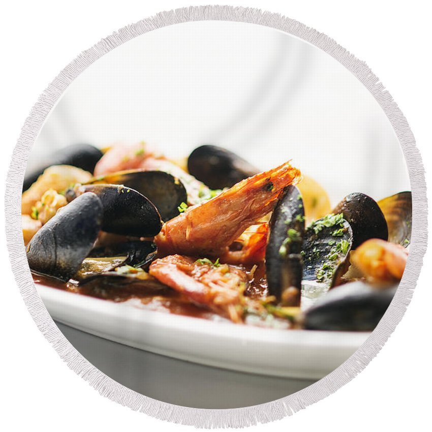 Classic Round Beach Towel featuring the photograph Italian Traditional Seafood Stew by Jacek Malipan