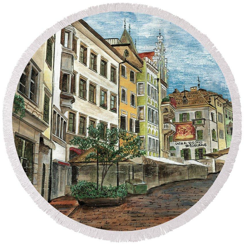 Street Scene Round Beach Towel featuring the painting Italian Village 1 by Debbie DeWitt