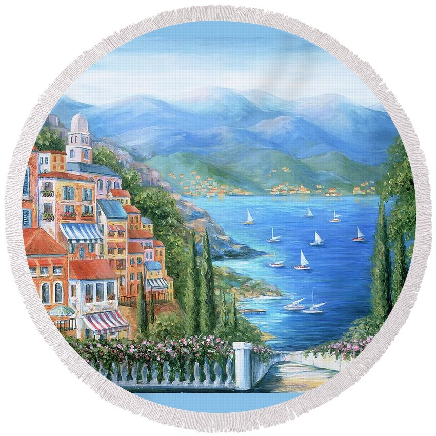 Europe Round Beach Towel featuring the painting Italian Village By The Sea by Marilyn Dunlap