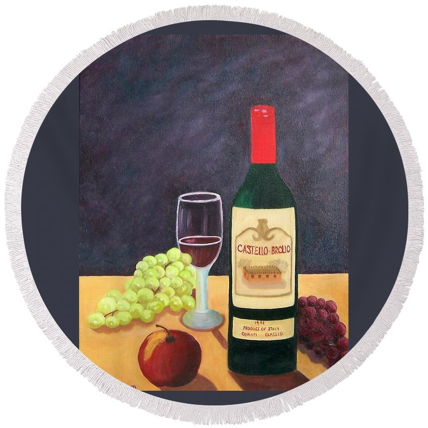 Still Life Round Beach Towel featuring the painting Italian Wine And Fruit by Ruth Housley