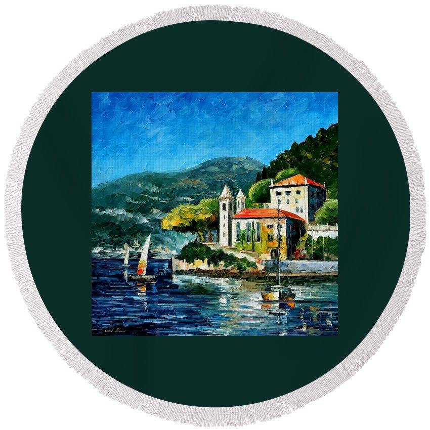 Afremov Round Beach Towel featuring the painting Italy - Lake Como - Villa Balbianello by Leonid Afremov