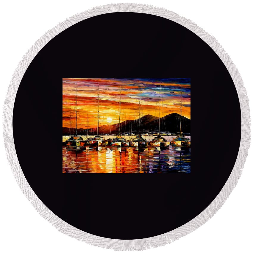 Afremov Round Beach Towel featuring the painting Italy - Naples Harbor- Vesuvius by Leonid Afremov