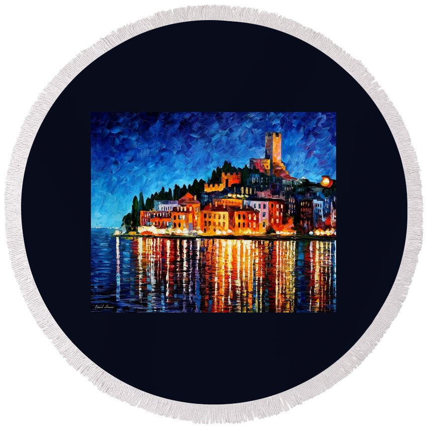 Afremov Round Beach Towel featuring the painting Italy - Verona by Leonid Afremov