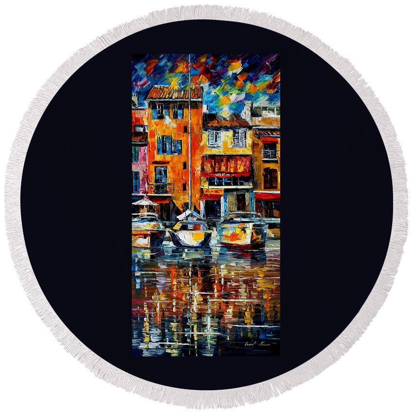 City Round Beach Towel featuring the painting Italy Venice by Leonid Afremov